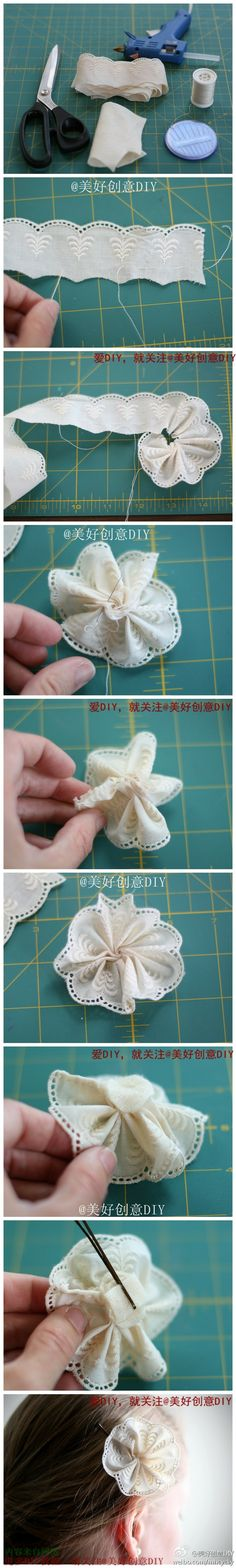 Making cute flowers from lace. Barrette?  Blouse decoration?  蕾丝发饰DIY教程~
