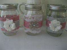 3 PINK Burlap lace and Bling Mason jars wedding by BertoliBridal