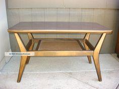 Vintage Danish Mid Century Modern Coffee Table W Cane Shelf Post-1950 photo