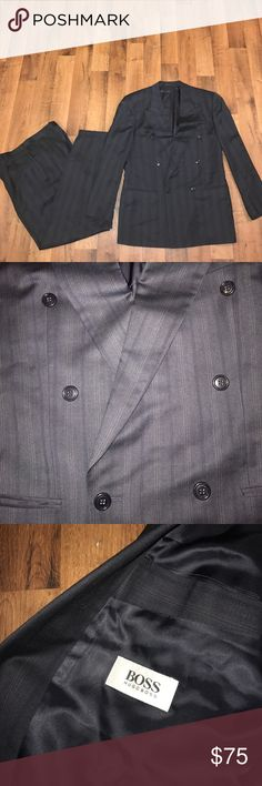 Hugo Boss Double Breasted 2 Piece Suit Gray Stripe Charcoal gray. Jacket size is 42R and the pant size is 31x32 Hugo Boss Suits & Blazers Suits
