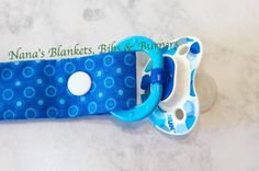 Pacifier Clip / Blue with circles for a Boy by NanasBlanketsBibs