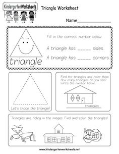 Kids can count, identify, and trace triangles with several fun activities in this free kindergarten shapes worksheet. Kindergarten Journals, Shapes Worksheet Kindergarten, Sequencing Worksheets, Shape Tracing Worksheets, Geometry Worksheets, Letter Worksheets, Worksheets For Kids, Preschool Math, Kindergarten Classroom