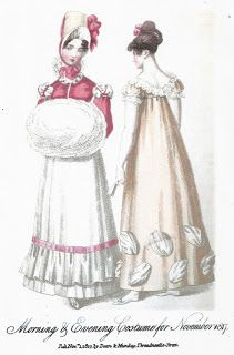 Regency Era Fashion Plate - November 1817 Ladies' Monthly Museum The Mirror of Fashion for November, 1817 The Morning Dress - A Jaconau. Regency Dress, Regency Era, Historical Costume, Historical Clothing, Yellow Ballgown, Morning Dress, Vintage Outfits, Vintage Fashion, Empire Style