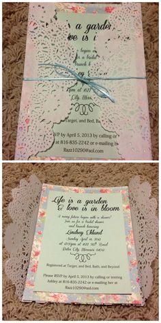 Bridal shower invitation. Vintage garden party theme. Paper doily. Handmade invitation.