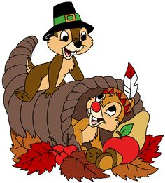 Clip art of Chip and Dale's Thanksgiving cornucopia - Thanksgiving Wallpaper Thanksgiving Cartoon, Thanksgiving Cornucopia, Thanksgiving Pictures, Thanksgiving Blessings, Thanksgiving Wallpaper, Holiday Pictures, Happy Thanksgiving, Happy Fall, Halloween Yard Art