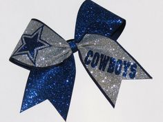 Dallas Cowboys Glitter Cheer Bow Cheerleader Hairbow Sparkle | eBay