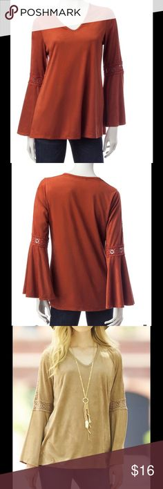 BOHO Bell Sleeve HANNAH Vegan Suede Tunic NWT Brand new with tag, Suede fabric, so SOFT and pliable!, it caresses your skin, while fitting you with comfort thanks to the added stretch. Has stitched trim on V'neck and crochet see though insets on sleeves. Please refer to pictures for additional details and descriptions. Color is burnt orange Hannah Tops Tunics