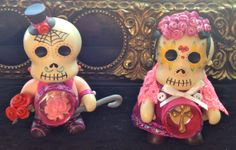 Day of the dead sugar skull couple by PuffyWoodson on Etsy, $50.00