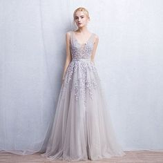 Elegant New Arrival Long Evening Dress,Sleeveless Prom Dresses,Sexy Prom Dresses,Gray Tulle Prom Dress by DestinyDress, $157.39 USD