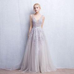 Elegant New Arrival Long Evening Dress,Sleeveless Prom Dresses,Sexy Prom Dresses,Gray Tulle Prom Dress by DestinyDress, $157.39 USD
