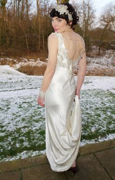 Full length photo of my wedding dress design. 1920s style for a winter wedding in Scotland