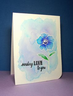 handmade card ... one layer ... emboss/resist technique ... white embossed outline of simple flower on a stem ... watercoloring ... love the background colors ... pretty card!