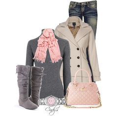 30 Warm And Cozy Polyvore Combinations For The Winter - pink and grey, love his combo