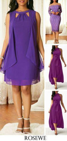 Purple Cutout Neck Overlay Chiffon Dress, free shipping worldwide, check them out. #dress#chiffon#purple