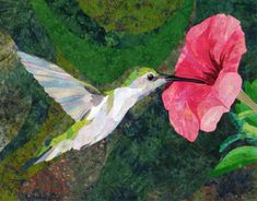 Hummingbird art quilt by David Taylor. Wisconsin Museum of Quilt & Fiber Arts in Cedarburg, Wisconsin, 2011