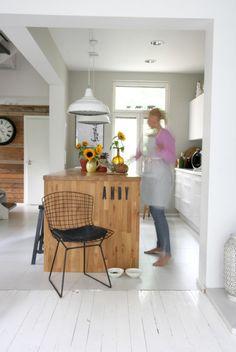 valkoinen keittiö, , tammisaareke, white kitchen, wooden island Wooden Island, Baby Room, Flooring, Living Room, Interior, Kitchen, Table, House, Furniture