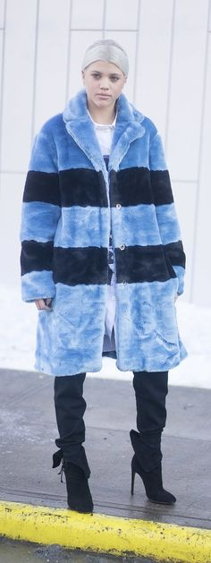 NYFW street style: Sofia Richie in a furry blue coat