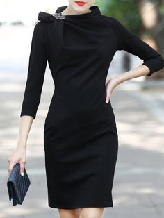 Shop Mini Dresses - Black Sheath Plain 3/4 Sleeve Mini Dress online. Discover…