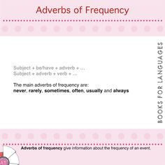 Adverbs are words that function as modifiers of sentences, clauses or various elements of clauses. They can provide a wide range of information. Adverbs of frequency are used to give information about the frequency of an event.