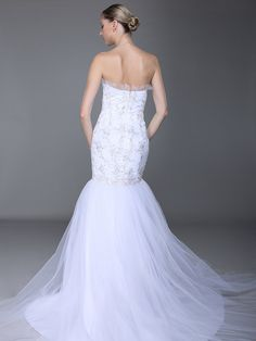 Embroidered Lace Bodice Mermaid Wedding Dress ,Style No.0bg01978,US$469.99