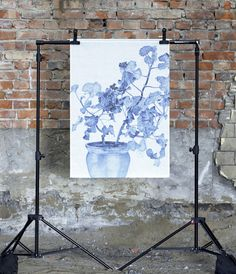Wallhangning Blue Geranium 100x70cm via Webshop Emma Sjödin/Konstig Design. Click on the image to see more!