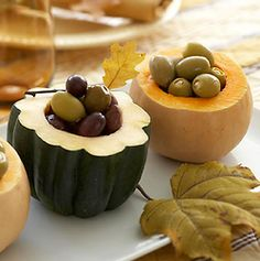 Acorn & Small Pumpkins used for bowls! Great Fall Party idea!