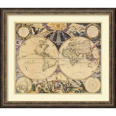 Amanti Art 'New World Map, 1676' by Pieter Goos Framed Graphic Art