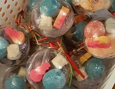 Christmas ornament balls. Come with small bath bomb, sample of our body butter, goats milk soap and bath salts.  All in a reusable plastic ball ornament complete with Christmas tag and ribnon. Ready to give away as gift. $12 each Christmas Tag, Christmas Ornaments, Goat Milk Soap, Ball Ornaments, Bath Salts, Our Body, Body Butter, Soap Making, Bath Bombs