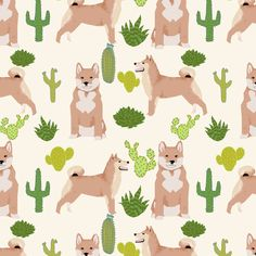 © Pet Friendly - Sweet shiba inu and cactus fabric.  Best shiba inu fabric print for trendy decor and home textiles.  Sweet Japanese shiba inu dogs.  Shiba Inu owners will love this trendy dog and cactus fabric.