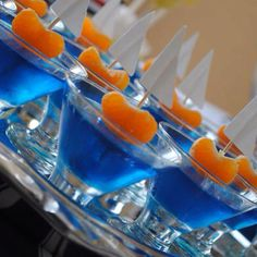 Nautical party idea: blue jello, with mandarin orange boats!