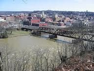 view of downtown Zanesville Ohio from Putnam Hill Park