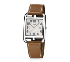 """Cape Cod Hermes steel watch, 29 x 29mm,  silvered dial, quartz movement, natural Barenia calfskin leather strap<br><br><span style=""""color: #F60;"""">This item may have a shipping delay of 1-3 days.</span><br><br>"""