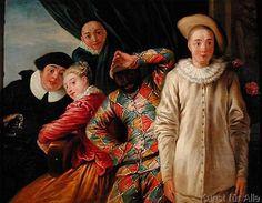 Jean Antoine Watteau - Harlequin, Pierrot and Scapin