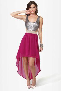Pretty Sequin Dress - High-Low Dress - Backless Dress - $49.00