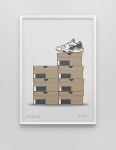 Air Huarache OG Stack Collection Poster. Available at kickposters.bigcartel.com