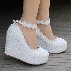 34d26f96273856 fashion white wedges wedding pumps Sweet white flower lace platform ...