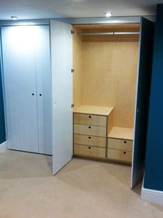 Birch ply and painted MDF wardrobe r:h. Sea Bedrooms, Tall Cabinet Storage, Locker Storage, Birch Ply, Wardrobes, How To Plan, Pre Christmas, Narnia, House