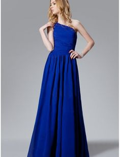 Chiffon One Shoulder A-Line Prom Dress with Fully Shirred Skirt