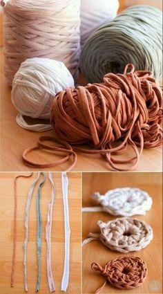 New ideas crochet rug fabric ideas Crochet Diy, Crochet Motifs, Easy Crochet Patterns, Love Crochet, Crochet Stitches, Cotton Cord, Mercerized Cotton Yarn, Arm Knitting, Crochet Purses