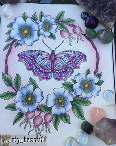 Repost from - Love my jewelled butterfly in her little flower garden 😍💕🌸🌟 Used a mixture of polychromos and prismacolors for this one - Joanna Basford, Bratz, Hanna Karlzon, Polychromos, Coloring Book Pages, Colorful Flowers, Color Inspiration, Flower Art, Butterfly