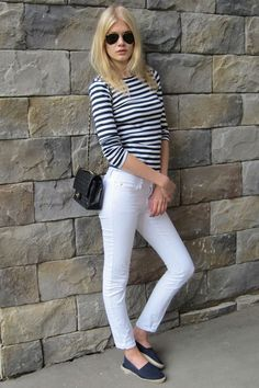 French sailor top, white jeans, and blue espadrilles=timeless!