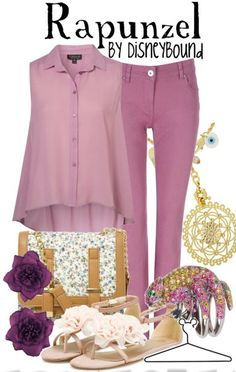 Disney Bound. Love this outfit, but instead of a purple top I would do a white one.