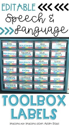 Organize your speech room materials and resources. Perfect for your articulation and language cards!