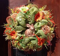 Easter Bunny Burlap and Deco Mesh Wreath by HertasWreaths on Etsy, $155.00