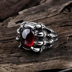 Red Jewelry, Gothic Jewelry, Jewelry Accessories, Grunge Accessories, Diamond Jewelry, Jewellery, Fashion Rings, Fashion Jewelry, Dragon Ring