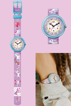 The design of this purple watch for kids makes it an unforgettable gift.  MAGICAL UNICORNS (ZFBNP033) is a portable enchanted forest, where children can learn to tell the time with this watch's lovely lilac landscape, home to a unicorn, caterpillar, fox and rabbit. Need any toadstool furniture for your fantasy castle? Fox And Rabbit, Fantasy Castle, Lilac, Purple, Magical Unicorn, Telling Time, Caterpillar, Unicorns, Enchanted