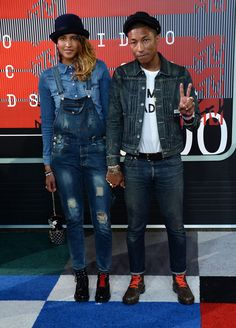 Pharrell Williams et sa femme Helen Lasichanh aux MTV Video Music Awards 2015