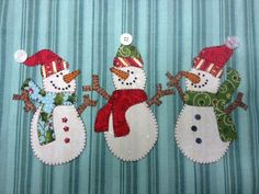 Snowman Trio, A Cute Group of Snowmen to Applique  PDF Pattern for Tea Towel by quiltdoodledesigns on Etsy https://www.etsy.com/listing/218867222/snowman-trio-a-cute-group-of-snowmen-to