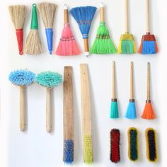 collection of brushes, colorful, tiny http://www.merci-merci.com/en/news/merci-introduces-remue-menage?utm_source=home_medium=push_campaign=menage