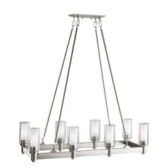 Circolo Brushed Nickel Eight Light Rectangle Chandelier Kichler Glass Shade Chandeliers C
